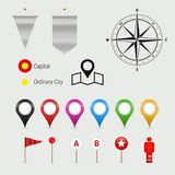 Map and Geography Infographics Elements. Vector Design Elements Set for You Design royalty free illustration