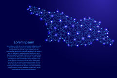 Map of Georgia from polygonal blue lines, glowing stars  illustration Stock Photo