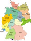 Map of Germany. National boundaries and national capitals Stock Photos