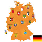 Map of Germany. Detailed map of Germany with coat of arms and borders Royalty Free Stock Image