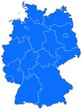 Map of Germany. Abstract map of Germany showing the political structure with the newly-formed German states Royalty Free Stock Image