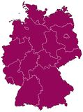 Map of Germany. Abstract map of Germany showing the political structure with the newly-formed German states Stock Photos
