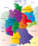 Map of Germany. Germany map designed in illustration with the regions colored in bright colors and with the main cities. On an illustration neighbouring vector illustration