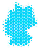 Map of Germany. In blue hexagons Royalty Free Illustration
