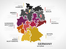 Map of Germany. Concept infographic template with states made out of puzzle pieces stock illustration