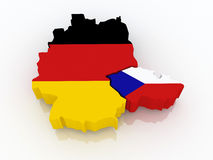 Map of Germany and the Czech Republic. Royalty Free Stock Photos