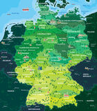 Map Germany. Detailed administrative map of Germany with cities stock illustration