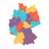 Map of Germany devided to 13 federal states and 3 city-states - Berlin, Bremen and Hamburg, Europe. Simple flat vector. Map in four colors with white labels Royalty Free Stock Photo