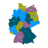 Map of Germany devided to 13 federal states and 3 city-states - Berlin, Bremen and Hamburg, Europe. Simple flat vector Stock Image