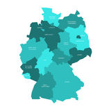 Map of Germany divided to 13 federal states and 3 city-states - Berlin, Bremen and Hamburg, Europe. Simple flat vector stock illustration