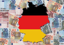 Map of Germany with euros royalty free illustration