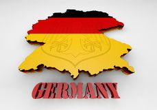 Map of Germany with flag. 3D Map illustration of Germany with flag Stock Photography
