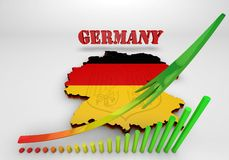 Map of Germany with flag. 3D Map illustration of Germany with flag Stock Images