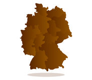 Map of Germany illustrated with regions Royalty Free Stock Photography