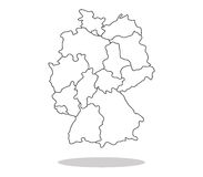 Map of Germany illustrated with regions Royalty Free Stock Image