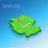 Map Germany isometric concept. Royalty Free Stock Photo