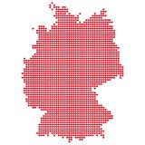 The Map Of Germany. Silhouette of Germany is made of small red hearts. Original abstract vector illustration for your design Stock Photo