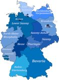 Map of germany. Without the names capitals but with the names of lands. Map of germany on a white background with borders of lands and capitals. Without the Royalty Free Stock Photo