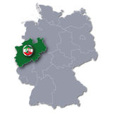 Map of Germany and North Rhine-Westphalia Royalty Free Stock Image