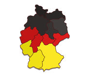 Map of Germany with regions Royalty Free Stock Photos