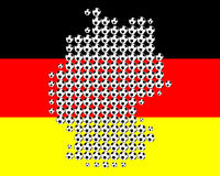 Map of Germany in soccer balls Royalty Free Stock Photos