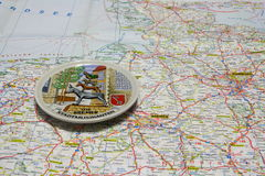 Map of Germany souvenir plate of Bremen. Royalty Free Stock Photography