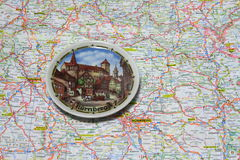 Map of Germany souvenir plate of Nuremberg. Royalty Free Stock Photography