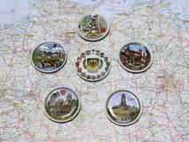 Map of Germany souvenir plates of various cities and places. Royalty Free Stock Photo
