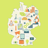 Map of Germany with technology icons Stock Images