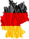 Germany Map with Flag. Germany map with waving flag on satin texture isolated on white vector illustration