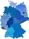 Map of germany. With the names of lands and capitals cities. Map of germany on a white background with borders of lands and capitals.  With the names of lands Royalty Free Stock Photography