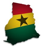 Map of Ghana. 3D Map of Ghana with flag Stock Illustration
