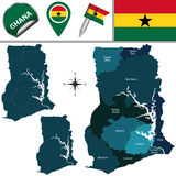 Map of Ghana with Named Region Royalty Free Stock Photography
