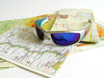 Map and glasses. Map and bike glasses Stock Photo