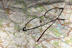 Map and Glasses Stock Image
