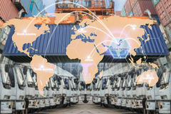 Map global logistics partnership connection of Container Cargo f Stock Photos