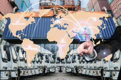 Map global logistics partnership connection of Container Cargo f Royalty Free Stock Image