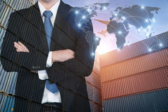 Map global logistics partnership connection of Container Cargo f Stock Images