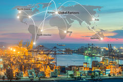 Map global logistics partnership connection of Container Cargo Stock Photography