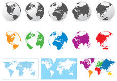 Map and globe. Colored globe, map and dot map kit. Additional format Eps8 (very easy editable separate layers Stock Photo