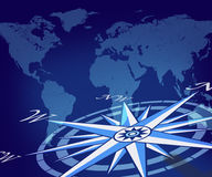 Map of the globe with compass Stock Photo