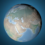 Map globe, earth embossed Europe Asia and Africa Stock Photography