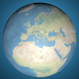 Map globe, earth embossed Europe Asia and Africa Stock Images