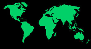 Map or globe of world. Map of world with green in land area Royalty Free Stock Images