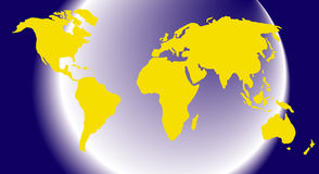 Map or globe of the world. With land areas in yellow Stock Photography