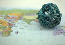 Map with globe Stock Photography