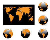 Map and globes royalty free stock photo