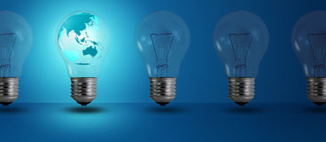 Map glow among other light bulb Stock Image