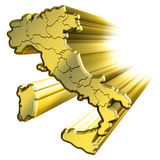Map of gold Italy. 3D rendering, map of gold Italy Royalty Free Stock Image