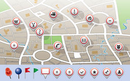 Map with GPS icons Royalty Free Stock Photos